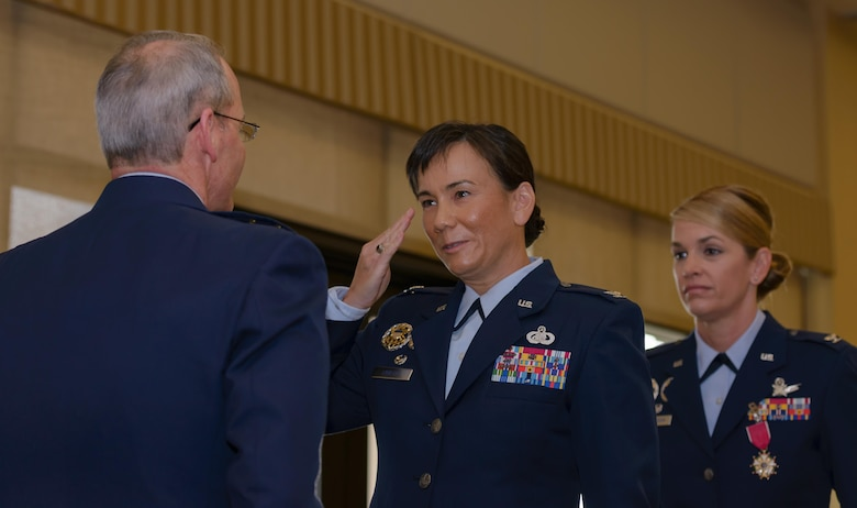 Col. Debra Lovette, 81st Training Wing commander, assumes command of the 81st TRW from Maj. Gen. Bob LaBrutta, 2nd Air Force commander, during a change of command ceremony at the Bay Breeze Event Center June 2, 2017, on Keesler Air Force Base, Miss. The ceremony is a symbol of command being exchanged from one commander to the next. Lovette assumed command of the 81st TRW from Col. Michele Edmondson. (U.S. Air Force photo by André Askew)