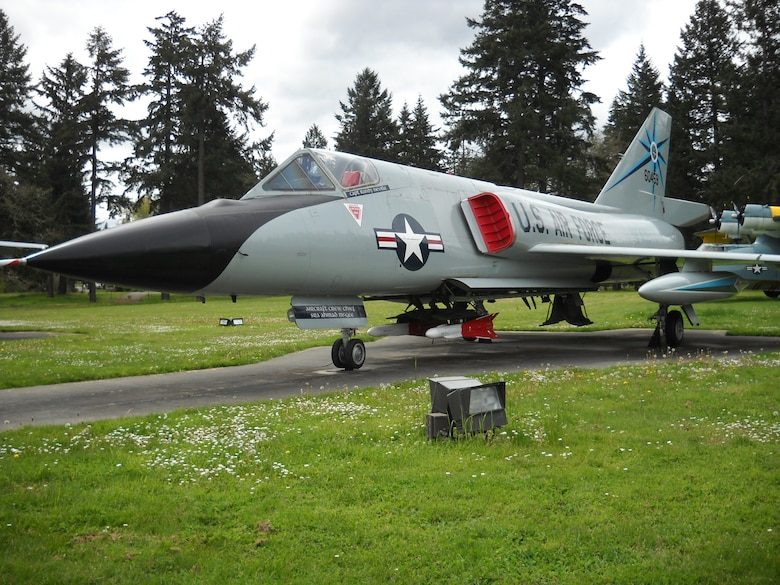 F-106A Delta Dart jet fighter is displayed at the McChord Field Heritage Hill Air Park May 5, 2017, at Joint Base Lewis-McChord, Wash. The F-106 was flown at McChord under the 318th Fighter Interceptor Squadron from 1960-1983. (Courtesy photo)