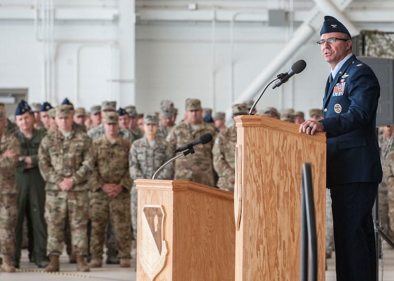 Col. Stewart Hammons, 27th Special Operations Wing commander, speaks to Airmen during the 27th Special Operations Wing change of command ceremony, June 2, 2017 at Cannon Air Force Base, New Mexico. Hammons took command from outgoing commander, Col. Ben Maitre. (U.S. Air Force photo by Tech Sgt. Eboni Reams)