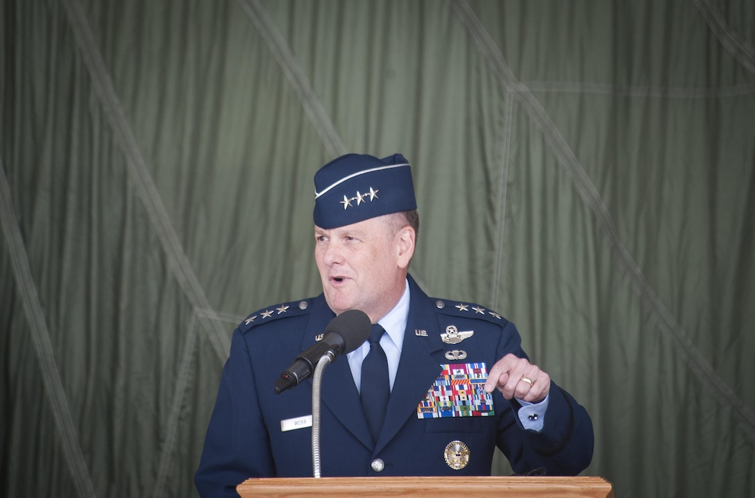Lt. Gen. Brandon Webb, Air Force Special Operations Command commander, speaks at the 27th Special Operations Wing's change of command ceremony at Cannon Air Force Base, N.M., Jun. 2, 2017. Col. Benjamin Maitre relieved his position as 27th SOW commander to Col. Stewart Hammons. (U.S. Air Force Photo by Senior Airman Lane T. Plummer)