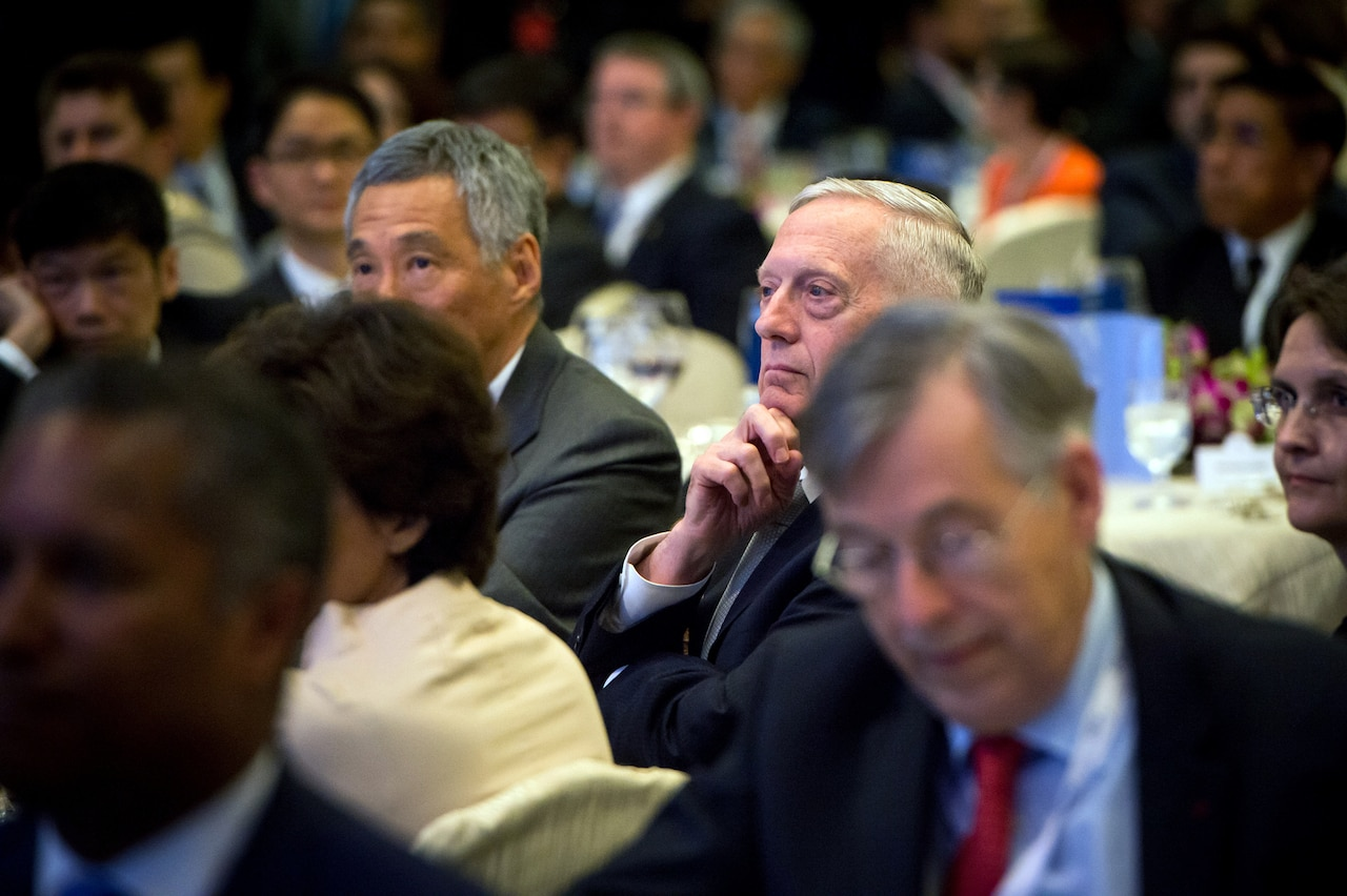 Defense Secretary Jim Mattis attends the Shangri-La Dialogue -- the International Institute for Strategic Studies' 16th Asia security summit -- in Singapore, June 2, 2017. DOD photo by Air Force Staff Sgt. Jette Carr