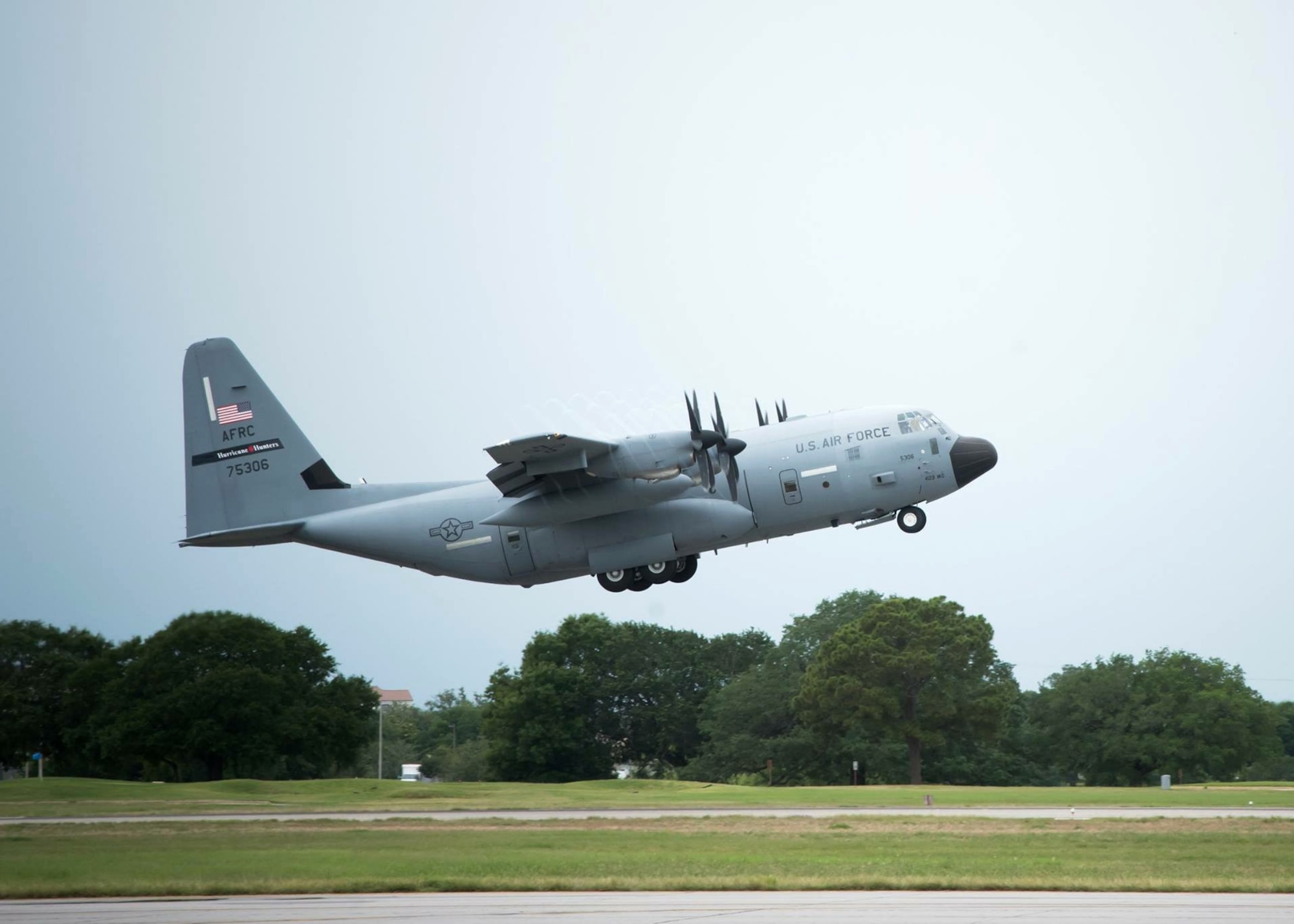 """The Air Force Reserve's 53rd Weather Reconnaissance Squadron """"Hurricane Hunters"""" depart Keesler Air Force Base, Mississippi, May 31, 2017, to take part in the U.S. Navy's Gulf of Mexico Oceanography Unmanned Systems Operational Demonstration. The squadron collected weather data for the U.S. Navy May 30 to June 2, 2017, as part of the event. (U.S. Air Force photo/Maj. Marnee A.C. Losurdo)"""