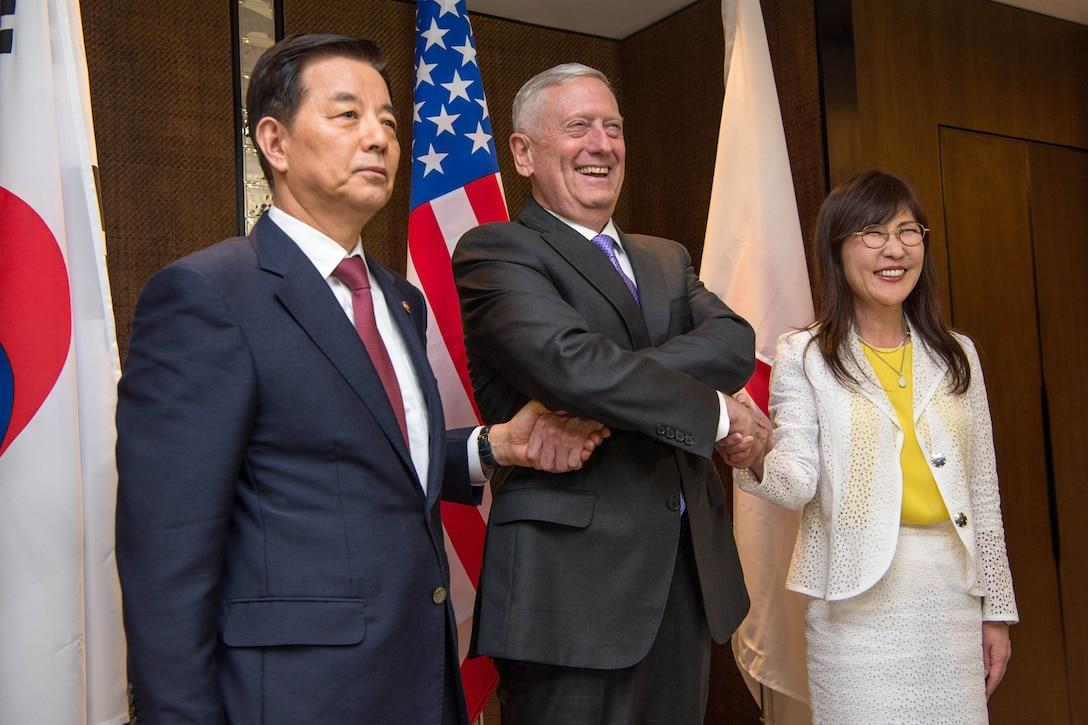 Secretary of Defense Jim Mattis meets with South Korean Defense Minister Han Min-goo and Japanese Defense Minister Tomomi Inada.