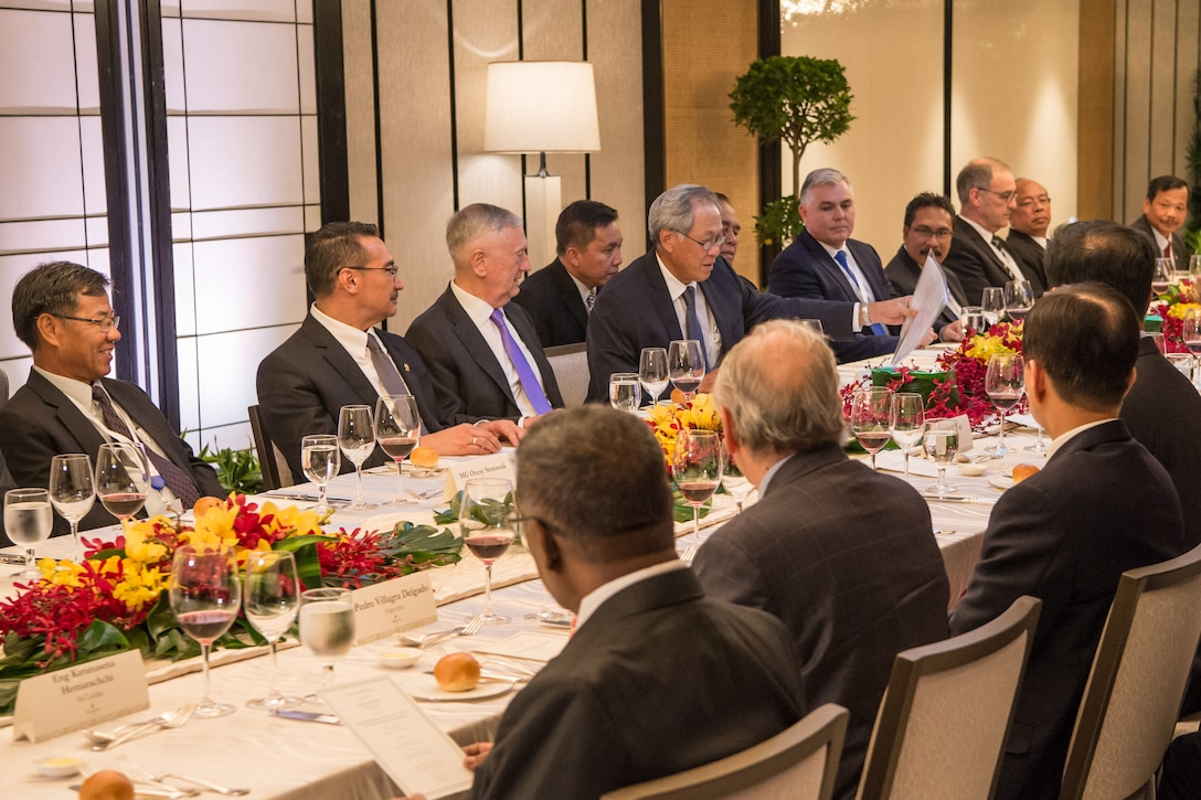 Defense Secretary Jim Mattis attends a ministerial lunch during the Shangri-La Dialogue in Singapore.