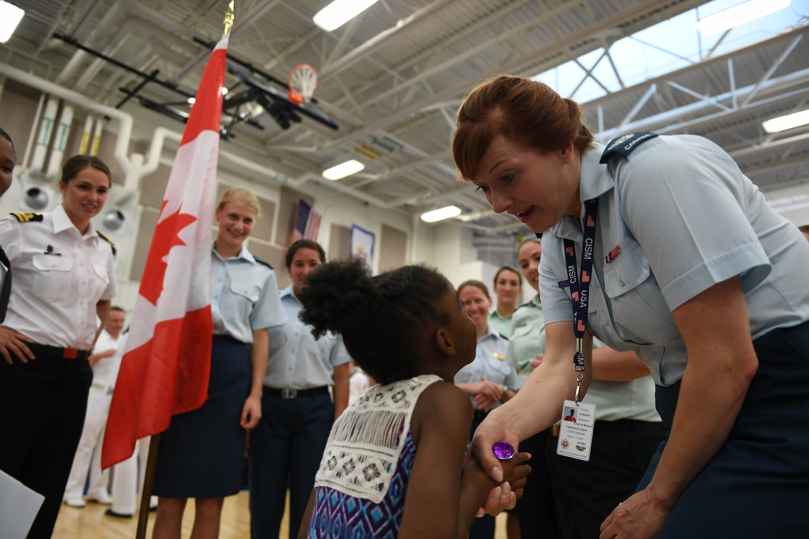 170603-N-UK306-201 JACKSONVILLE, Fla. (June 3, 2017)  Compeititors take part in the opening ceremony of the 18th Conseil International du Sport Militaire (CISM) World Military Women's Volleyball Championship at Naval Station Mayport.  Teams from the United States, Canada, China, Germany and The Netherlands will compete June 4-9, while promoting peace activities and solidarity among athletes. (U.S. Navy photo by Mass Communication Specialist 2nd Class Timothy Schumaker/Released)