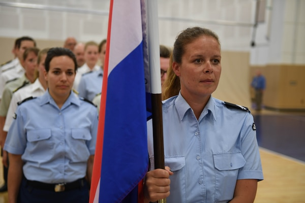 170603-N-UK306-038 JACKSONVILLE, Fla. (June 3, 2017)  Compeititors from The Netherlands take part in the opening ceremony of the 18th Conseil International du Sport Militaire (CISM) World Military Women's Volleyball Championship at Naval Station Mayport.  Teams from the United States, Canada, China, Germany and The Netherlands will compete June 4-9, while promoting peace activities and solidarity among athletes. (U.S. Navy photo by Mass Communication Specialist 2nd Class Timothy Schumaker/Released)