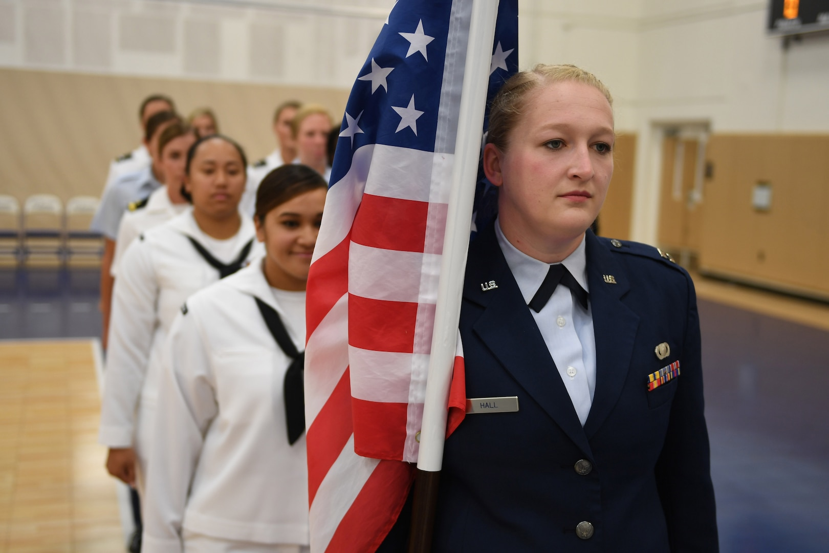 170603-N-UK306-045 JACKSONVILLE, Fla. (June 3, 2017)  Compeititors take part in the opening ceremony of the 18th Conseil International du Sport Militaire (CISM) World Military Women's Volleyball Championship at Naval Station Mayport.  Teams from the United States, Canada, China, Germany and The Netherlands will compete June 4-9, while promoting peace activities and solidarity among athletes. (U.S. Navy photo by Mass Communication Specialist 2nd Class Timothy Schumaker/Released)