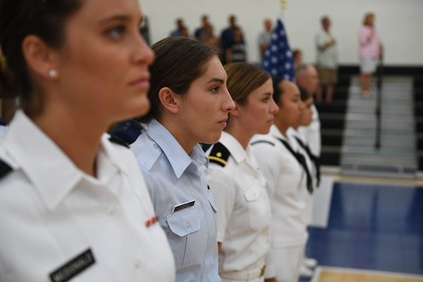 170603-N-UK306-106 JACKSONVILLE, Fla. (June 3, 2017)  Compeititors take part in the opening ceremony of the 18th Conseil International du Sport Militaire (CISM) World Military Women's Volleyball Championship at Naval Station Mayport.  Teams from the United States, Canada, China, Germany and The Netherlands will compete June 4-9, while promoting peace activities and solidarity among athletes. (U.S. Navy photo by Mass Communication Specialist 2nd Class Timothy Schumaker/Released)