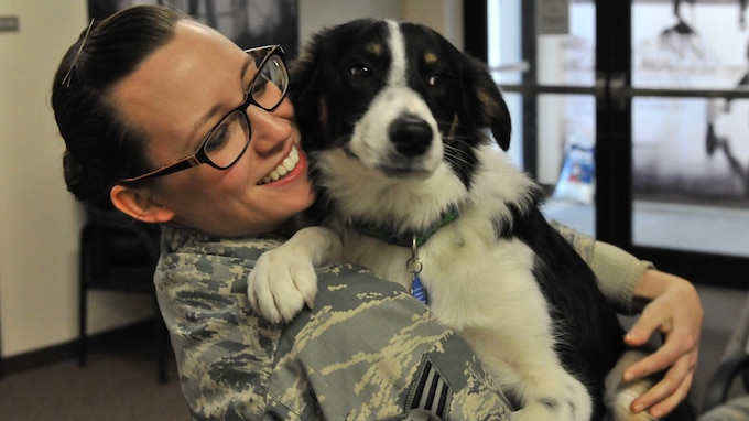 Senior Airman Sara Schreiber of the 174th Attack Wing Public Affairs office, spends time with Spicer the dog during his visit to the base March 4, 2017. Spicer is the 174th Attack Wing's Therapy dog. (U.S. Air National Guard Photo by Staff Sgt. Duane Morgan)