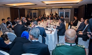 Defense Secretary Jim Mattis meets with the defense ministers and delegation heads of the Association of Southeast Asian Nations during the 16th Shangri-La Dialogue Asia security summit in Singapore, June 4, 2017. DOD photo by Air Force Staff Sgt. Jette Carr