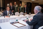 Defense Secretary Jim Mattis, right, meets with Malaysian Defense Minister Hishammuddin Tun Hussein during the 16th Shangri-La Dialogue Asia security summit in Singapore, June 4, 2017. DoD photo by Air Force Staff Sgt. Jette Carr