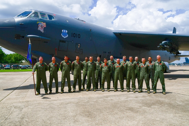 Airmen of the 343rd Bomb Squadron stand with their new commander, Lt. Col. John P. Booker in front of the commander's B-52 Stratofortress on Barksdale Air Force Base, La. June 3, 2017. The bomb squadron is the only Air Force Reserve that is nuclear certified. (U.S. Air Force photo by Master Sgt. Dachelle Melville/Released)