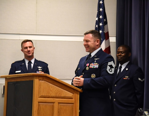 NEW CASTLE AIR NATIONAL GUARD BASE, Del. - Chief Master Sergeant Summer Brown speaks to the audience during a promotion ceremony held in his honor on June 3, 2017. (U.S. Air National Guard photo by Tech. Sgt. Gwendolyn Blakley/ Released).
