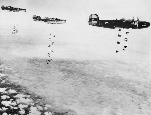 B-24 Liberators assigned to the 446th Bombardment Group of the 8th Air Force during a bombing raid over Germany in 1945. (Department of Defense photo)