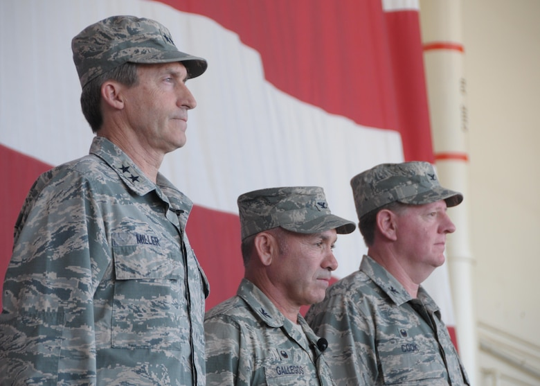 From left to right: Maj. Gen. Ronald Miller, 10th Air Force commander, Col. Kurt Gallegos, 944th Fighter Wing commander, and Col. Bryan Cook, 944 FW vice commander, stand at attention June 3 during a Change-of-Command ceremony at Luke Air Force Base, Ariz. (U.S. Air Force photo by Tech Sgt. Nestor Cruz)