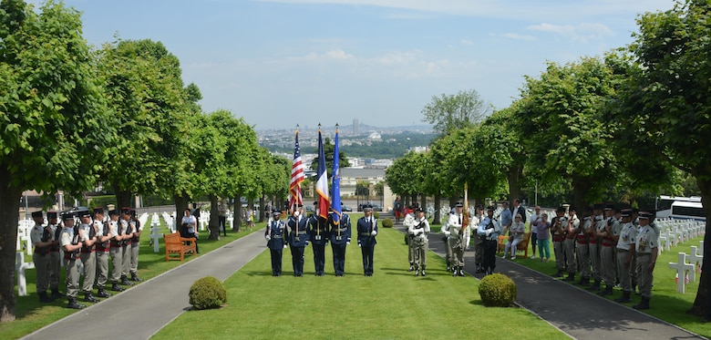Airmen of the 52nd Fighter Wing Honor Guard stand with their French counterparts at a Memorial Day ceremony at Suresnes American Cemetery, Suresnes, France, May 28, 2017. This Memorial Day is especially signifcant because 2017 marks the centennial of United States' entry into the First World War. (U.S. Air Force photo by Capt. Ben Sowers/Released)