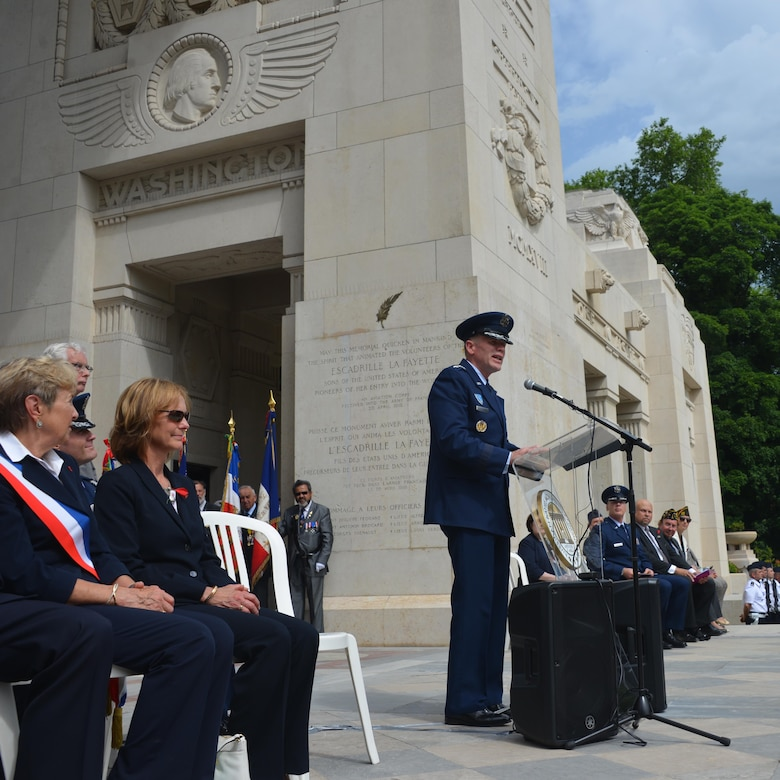 U.S. Air Force Gen Tod D. Wolters, U.S. Air Forces in Europe - Air Forces Africa commander, delivers a speech at a Memorial Day ceremony at the Lafayette Escadrille Memorial, in Marnes-la-Coquette, France, May 28, 2017. This Memorial Day is especially signifcant because 2017 marks the centennial of United States' entry into the First World War. (U.S. Air Force photo by Capt. Ben Sowers/Released)