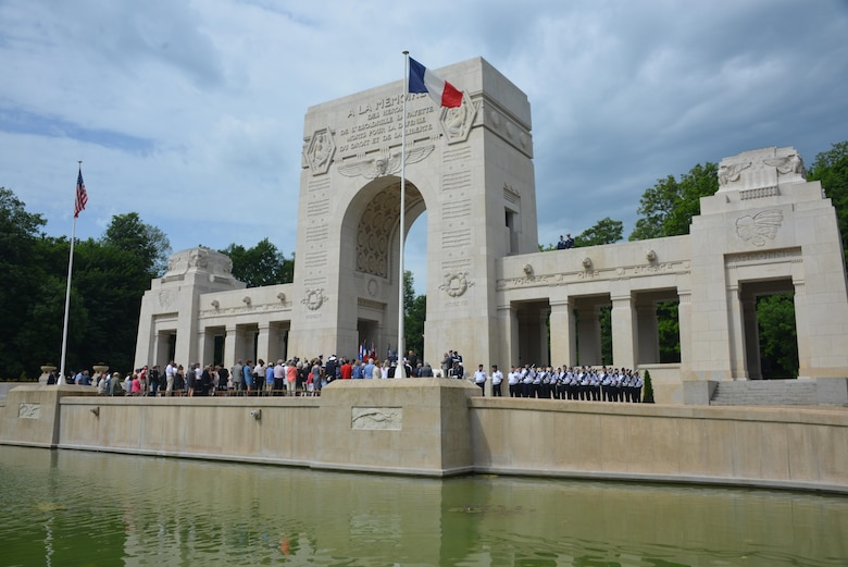 French and Americans gather to honor the sacrifices of who served in the Lafayette Escadrille at the Lafayette Escadrille Memorial, Marnes-la-Coquette, France, May 28, 2017. This Memorial Day is especially signifcant because 2017 marks the centennial of United States' entry into the First World War. (U.S. Air Force photo by Capt. Ben Sowers/Released)