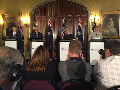 Defense Secretary Jim Mattis, Secretary of State Rex Tillerson, Australian Foreign Minister Julie Bishop and Australian Defense Minister Marise Ann Payne speak to the press about the Australia-U.S. Defense Ministerial Consultations held in Sydney, June 5, 2017. DoD photo by Jim Garamone