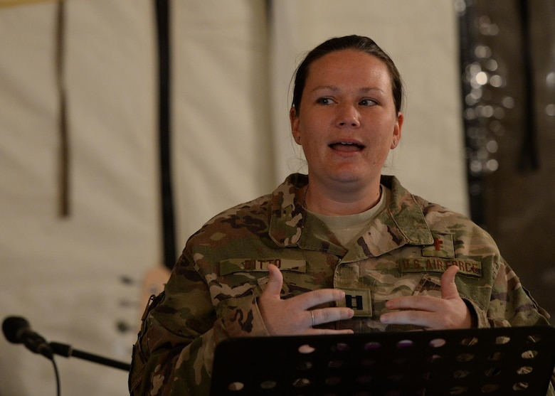 Capt. Sarah Ditto, 435th Air Expeditionary Wing head chaplain, delivers a message during a chapel service at Nigerien Air Base 201, Niger, May 14, 2017. The 435th AEW chapel team, consisting of only two people, covers religious accommodations and spiritual resiliency for deployed Airmen across two continents. (U.S. Air Force photo by Senior Airman Jimmie D. Pike)