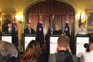 Defense Secretary Jim Mattis, Secretary of State Rex Tillerson, Australian Foreign Minister Julie Bishop and Australian Defense Minister Marise Ann Payne speak to the press.