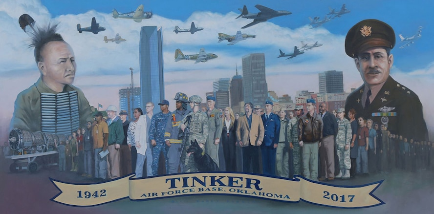The artwork above was painted by Senior Master Sgt. Darby Perrin of the 507th Air Refueling Wing in honor of Tinker's 75th anniversary. Lithographs of the commemorative painting, which features images representing both Tinker's and Oklahoma's heritage, are available at the Airman and Family Readiness Center. All proceeds from the sale of the lithographs will go to the Tinker Family Readiness Fund. (Courtesy photo)