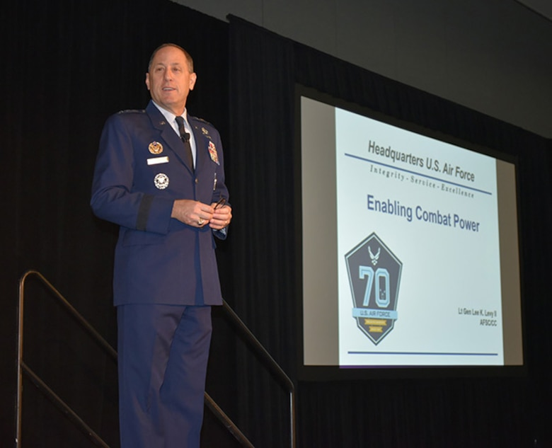 Lt. Gen. Lee K. Levy II, Air Force Sustainment Center commander, delivers the military keynote address at the MRO Americas Conference held April 25-27 at the Orange County Convention Center in Orlando. (Air Force photo by Darren D. Heusel)