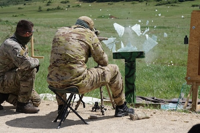 Snipers engage 100-meter targets through glass panels on the first live-fire day of Urban Sniper Course in Hohenfels, Germany, May 20, 2017. Army photo by Sgt. Karen Sampson