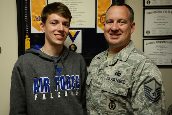 David, Master Sgt. Paul Evan's son, is carrying on the legacy of service by being accepted by the U.S. Air Force Academy. David joined Junior Reserve Officer Training Corps to learn as much about the military as he could. (U.S. Air Force photo by Airman Rhett Isbell)