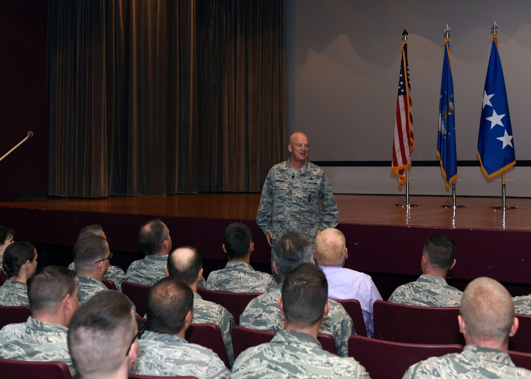 General Jay Raymond, commander of Air Force Space Command, speaks to base personnel during an all call, June 1, 2017, Vandenberg Air Force Base, Calif. In addition to touring and interacting with Airmen from around the base, Raymond held an all call to share his views on future space capabilities and outline his priorities for the command. (U.S. Air Force photo by Senior Airman Kyla Gifford/Released)