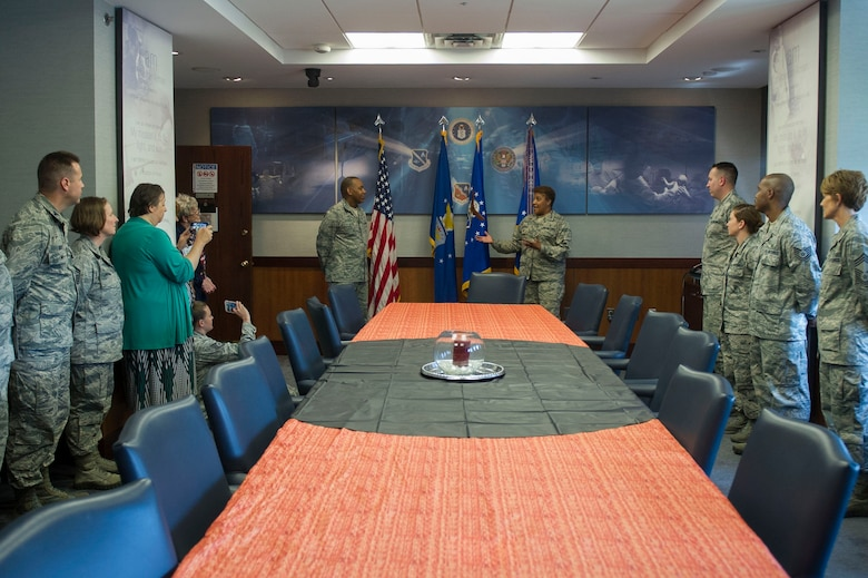79th Medical Wing Vice-Commander Col. Yolanda D. Bledsoe hosts Maj. Gen. Roosevelt Allen Jr. for an unveiling of his portrait as former 79th Medical Wing Commander on Joint Base Andrews June 2, 2017. (Photo by Senior Master Sgt. Adrian Cadiz)(Released)