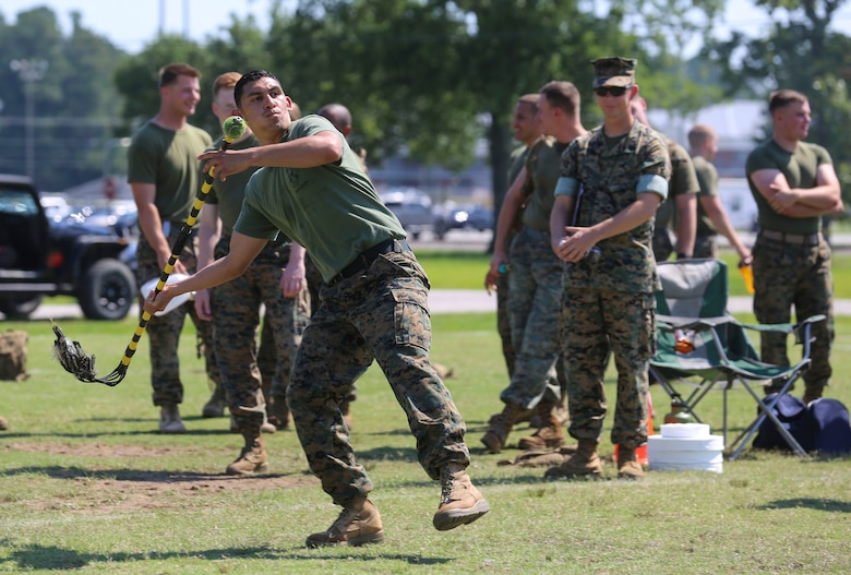 Cpl. Daniel Cantu winds up to throw a javelin during the javelin competition at Marine Corps Air Station Cherry Point, N.C., June 2, 2017. The javelin competition was part of a combine hosted by Marine Air Control Group 28.The combine consisted of numerous physical events where teams of 20 Marines from each squadron would compete. Cantu is an administration specialist assigned to Marine Tactical Air Command Squadron 28, MACG-28, 2nd Marine Aircraft Wing. (U.S. Marine Corps photo by Lance Cpl. Cody Lemons/Released)