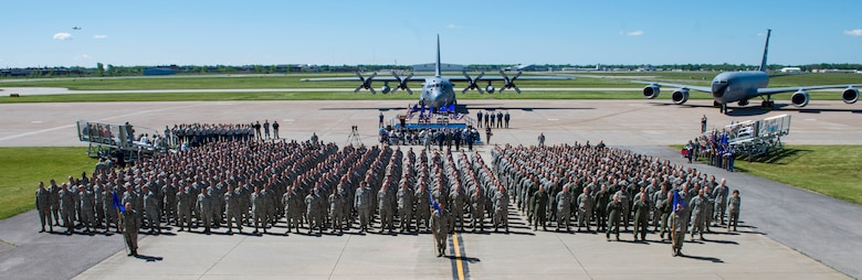 The 914th Airlift Wing was re-designated as an air refueling wing during a special ceremony held June 3, 2017 at the Niagara Falls Air Reserve Station, N.Y. This ceremony marked the transition for the wing from the C-130 Hercules to the KC-135 Stratotanker.  (U.S. Air Force photo by Tech. Sgt. Stephanie Sawyer)
