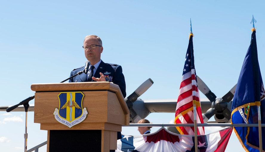 Col. Brian S. Bowman, 914th Air Refueling Wing Commander, addresses the crowd during the Change of Mission Ceremony, June 3, 2017, Niagara Falls Air Reserve Station, N.Y. This transition marks the end of a 46-year mission as an Airlift Wing, flying the C-130 aircraft. Under the new mission, the 914th will be flying the KC-135 Statotanker (U.S. Air Force photo by Tech. Sgt. Stephanie Sawyer)