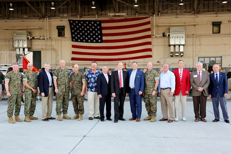 Marine Tactical Electronic Warfare Squadron 4's past and present senior leadership gather during VMAQ-4's deactivation ceremony at Marine Corps Air Station Cherry Point, N.C., June 2, 2017. The Seahawks have been active over the skies of Korea, Vietnam, and most recently, Desert Shield, Desert Storm, Operation Iraqi Freedom, Operation Enduring Freedom, and Operation Inherent Resolve. VMAQ-4 was assigned to Marine Aircraft Group 14, 2nd Marine Aircraft Wing. (U.S. Marine Corps photo by Cpl. Jason Jimenez/ Released)