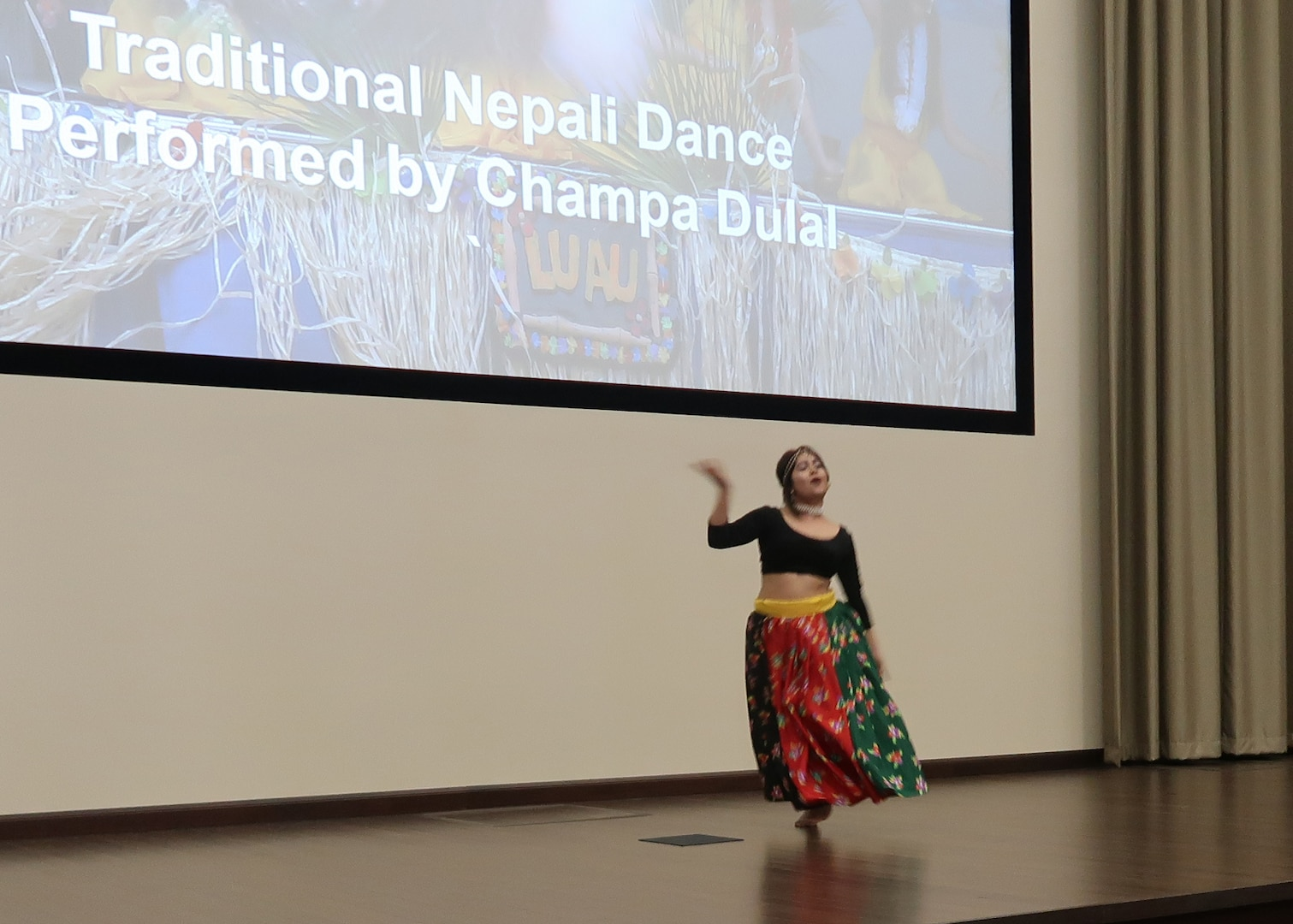Champa Dulal of the Bhutanese Community Center performed a traditional Nepali dance during the DLA Distribution's Multicultural Committee Asian Americans and Pacific Islanders event held on Wednesday, May 23.