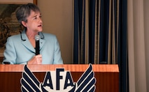 Secretary of the Air Force Heather Wilson speaks about the fiscal year 2018 budget, the Aviation Bonus Program, and an upcoming Air Force fighter jet deployment to Europe during an Air Force Association breakfast event, June 5, 2017. (U.S. Air Force photo/Wayne A. Clark)