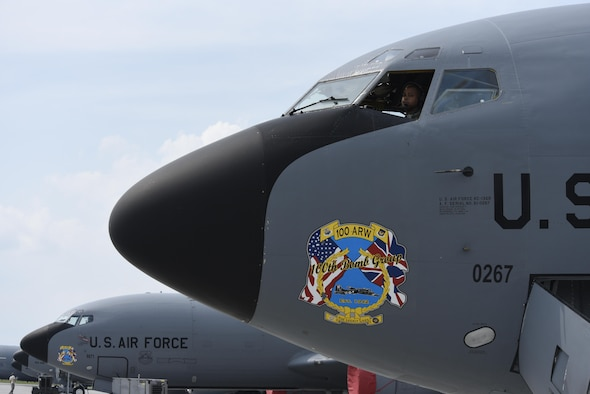 Capt. Nicholas McClendon, 351st Air Refueling Squadron pilot, conducts a pre-flight check on a KC-135R Stratotanker prior to takeoff during BALTOPS exercise at Powidz Air Base, Poland, June 5, 2017. BALTOPS is an annually recurring multinational exercise designed to enhance flexibility and interoperability, as well as demonstrate resolve of allied and partner forces to defend the Baltic region. Participating nations include Belgium, Denmark, Estonia, Finland, France, Germany, Latvia, Lithuania, the Netherlands, Norway, Poland, Sweden, the United Kingdom, and the United States. (U.S. Air Force photo by Staff Sgt. Jonathan Snyder)