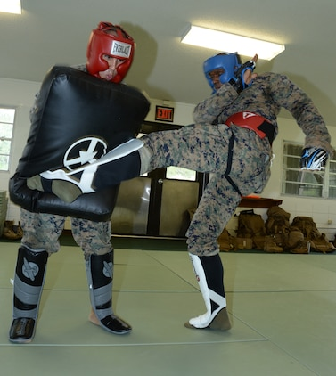 Sgt. Frederick Graham, right, martial arts instructor course student, Marine Corps Logistics Base Albany, round kicks the pad of Sgt. Salvador Hernandez during a Martial Arts Instructor Course aboard Marine Corps Logistics Base Albany, May 24.
