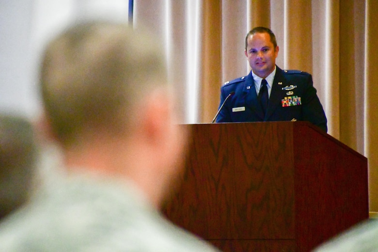 Capt. Joel Brown, 307th Security Forces Squadron commander, addresses his Airmen for the first time during an assumption of command ceremony on Barksdale Air Force Base, La., June 4, 2017. Brown is the former operations officer for the 944th Security Forces Squadron, 944th Fighter Wing, Luke AFB, Ariz., and has served as an enlisted Airman as well as an Army officer. (U.S. Air Force photo by Master Sgt. Dachelle Melville/Released)