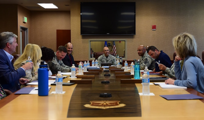 Leadership from Buckley Air Force Base and the Aurora School District hold a meeting June 5, 2017, on Buckley AFB, Colo. The meeting highlighted the importance of the school district's outreach to military families and support for children with deployed parents. (U.S. Air Force photo by Airman Jacob Deatherage/Released)