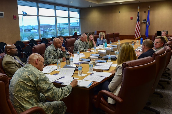 Leadership from Buckley Air Force Base and the Aurora School District discuss the relationship between the base and local schools June 5, 2017, on Buckley AFB, Colo. The meeting highlighted the importance of the school district's outreach to military families and support for children with deployed parents. (U.S. Air Force photo by Airman Jacob Deatherage/Released)