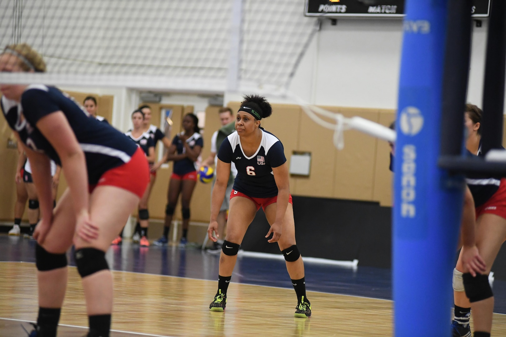 Army Sgt. Latoya Marshall (#6) led the U.S. over Canada wtih 20 points in match 4 of the 18th Conseil International du Sport Militaire (CISM) World Women's Military Volleyball Championship at Naval Station Mayport, Florida on 5 June 2017. Mayport is hosting the CISM Championship from 2-11 June.  Finals are on 9 June.