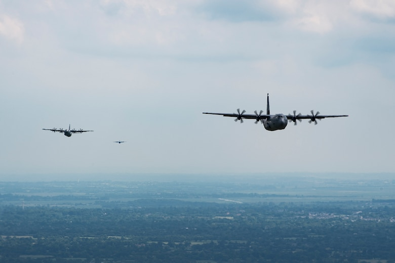 U.S. Air Force C-130J Super Hercules aircraft assigned to the 37th Airlift Squadron at Ramstein Air Base, Germany, fly over France, June 2, 2017. The 37th AS took the same route the planes flew during the D-Day invasion on June 6,  73 years ago. This event commemorates the 73rd anniversary of D-Day, the largest multinational amphibious landing and operational military airdrop in history, and highlights the U.S.' steadfast commitment to European allies and partners. Overall, approximately 400 U.S. service members from units in Europe and the U.S. are participating in ceremonial D-Day 73 events from May 31-June 7, 2017. (U.S. Air Force photo by Senior Airman Devin Boyer)