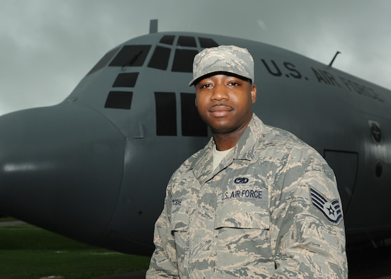 Staff Sgt. Darryl McRae, 19th Maintenance Squadron aircraft structural maintenance journeyman, is recognized as the Combat Airlifter of the Week June 6, 2017, at Little Rock Air Force Base, Ark. McRae was selected for leading a team to repair aircraft damaged in a hail storm. (U.S. Air photo by Airman 1st Class Grace Nichols)