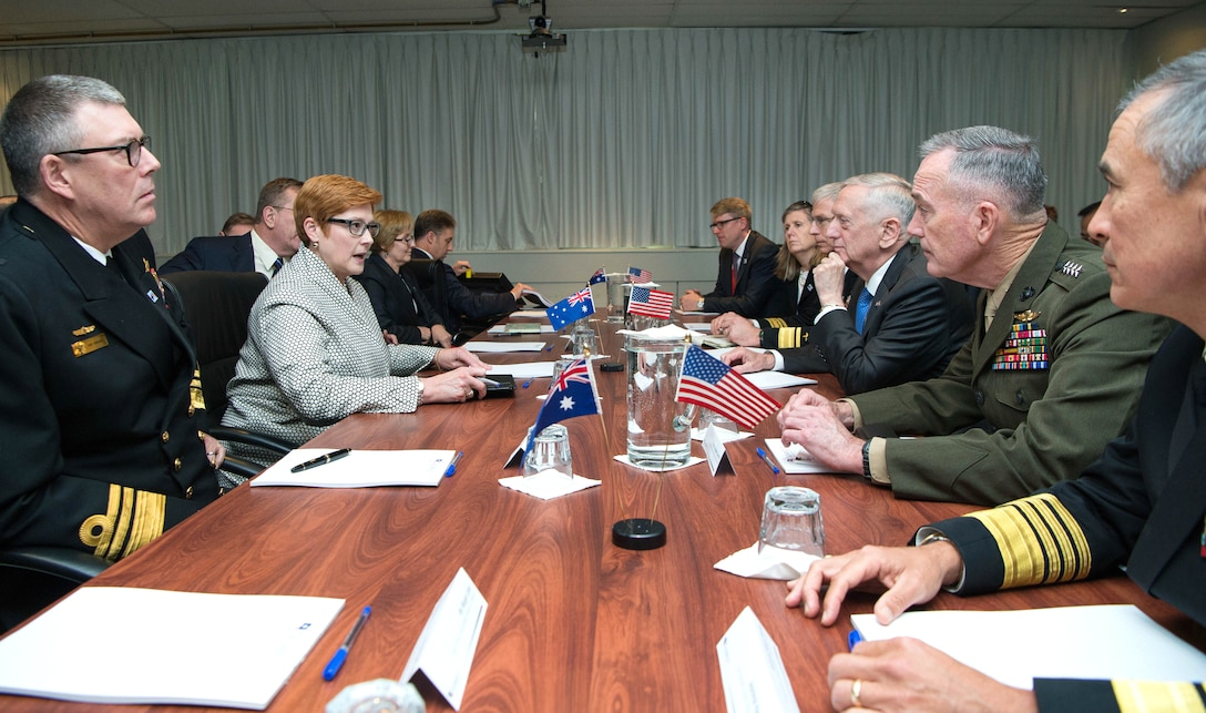 Defense Secretary Jim Mattis, center right, and Marine Corps Gen. Joe Dunford, chairman of the Joint Chiefs of Staff, second from right, meet with Australian Defense Minister Marise Ann Payne.