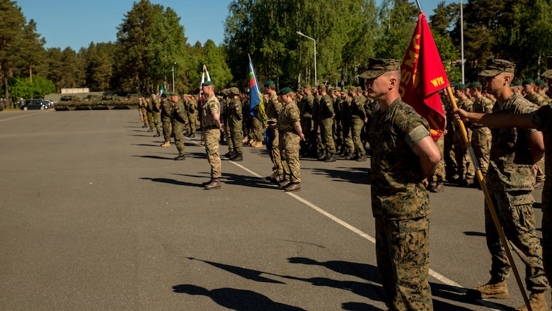 Marines with the Black Sea Rotational Force 17.1 stand in formation next to several other international military forces, to include Latvia, Italy, Great Britain, Lithuania, Norway, Poland, Slovenia and Slovakia, in preparation for the opening ceremony of Exercise Saber Strike 17 at Camp Adazi, Latvia, June 3, 2017.  Exercise Saber Strike 17 is an annual combined-joint exercise conducted at various locations throughout the Baltic region and Poland.