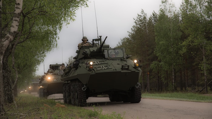 Marines with Charlie Company, 4th Light Armored Reconnaissance Battalion, 4th Marine Division, Marine Forces Reserve, operate Light Armored Vehicles by convoy from Ventspils to Adazi, Latvia, during Exercise Saber Strike 17, June 2, 2017. Exercise Saber Strike 17 is an annual combined-joint exercise conducted at various locations throughout the Baltic region and Poland. The combined training prepares NATO Allies and partners to effectively respond to regional crises and to meet their own security needs by strengthening their borders and countering threats.