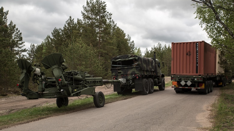 Marines with 3rd Battalion, 14th Marine Regiment, Mike Battery, 4th Marine Division, Marine Forces Reserve, transport multiple M777 Howitzers from Ventspils to Adazi, Latvia, during Exercise Saber Strike 17, June 2, 2017 Exercise Saber Strike 17 is an annual combined-joint exercise conducted at various locations throughout the Baltic region and Poland. The combined training prepares NATO Allies and partners to effectively respond to regional crises and to meet their own security needs by strengthening their borders and countering threats.