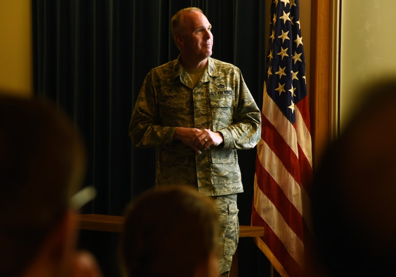 Colonel Michael Harner, 377th Mission Support Group commander, speaks to Team Kirtland about his experience at Khobar Towers, May 25th, 2017. Col. Harner gave resiliency advice to team members present. (U.S. Air Force Photo/Senior Airman Chandler Baker)